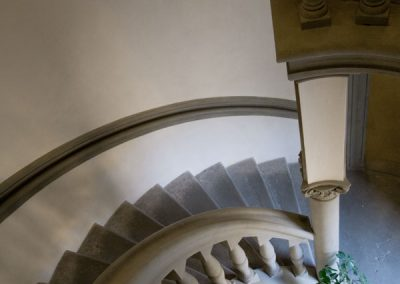 Interior view of column and stairwell.