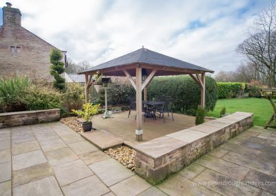 Wood decking and gazebo.