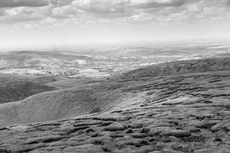 Black and white picture of peat moorland.